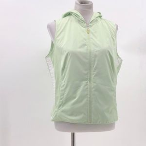 new york & company zip up vest hooded sz L Large